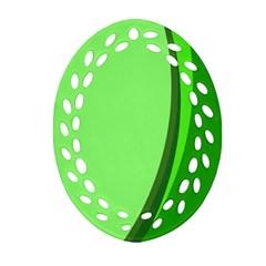 Simple Green Oval Filigree Ornament (2 Side)  by Jojostore