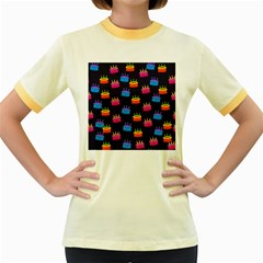 Seamless Tile Repeat Pattern Women s Fitted Ringer T Shirts by Jojostore