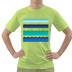 Water Border Water Waves Ocean Sea Green T Shirt