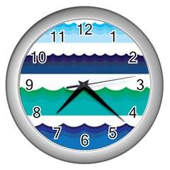Water Border Water Waves Ocean Sea Wall Clocks (silver)