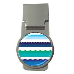 Water Border Water Waves Ocean Sea Money Clips (round)  by Amaryn4rt