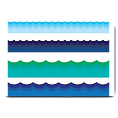Water Border Water Waves Ocean Sea Large Doormat  by Amaryn4rt