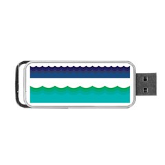 Water Border Water Waves Ocean Sea Portable Usb Flash (two Sides) by Amaryn4rt