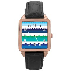 Water Border Water Waves Ocean Sea Rose Gold Leather Watch  by Amaryn4rt