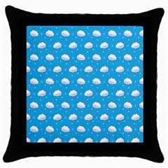 Seamless Fluffy Cloudy And Sky Throw Pillow Case (black) by Jojostore