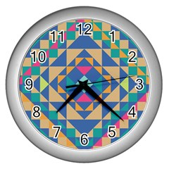 Tiling Pattern Wall Clocks (silver)  by Jojostore