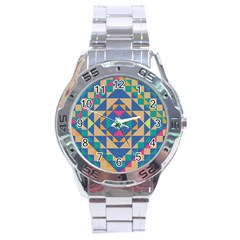 Tiling Pattern Stainless Steel Analogue Watch by Jojostore