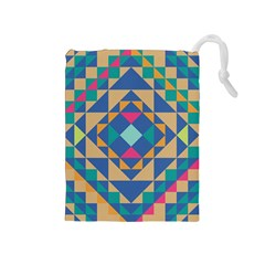 Tiling Pattern Drawstring Pouches (medium)  by Jojostore