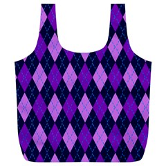 Tumblr Static Argyle Pattern Blue Purple Full Print Recycle Bags (l)  by Jojostore