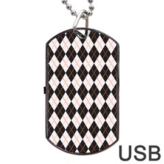 Tumblr Static Argyle Pattern Gray Brown Dog Tag Usb Flash (one Side) by Jojostore