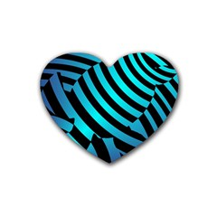 Turtle Swimming Black Blue Sea Rubber Coaster (heart)  by Jojostore