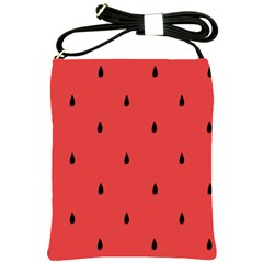 Watermelon Seeds Red Shoulder Sling Bags by Jojostore