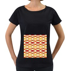 Wave Orange Red Yellow Rainbow Women s Loose Fit T Shirt (black) by Jojostore