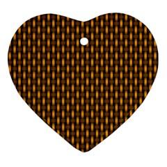 Webbing Woven Bamboo Orange Yellow Ornament (heart)  by Jojostore