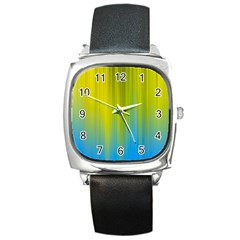 Yellow Blue Green Square Metal Watch by Jojostore