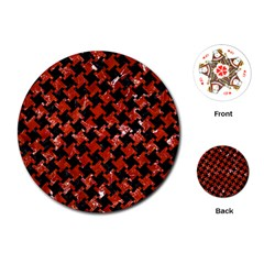 Houndstooth2 Black Marble & Red Marble Playing Cards (round) by trendistuff