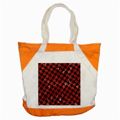 Houndstooth2 Black Marble & Red Marble Accent Tote Bag by trendistuff