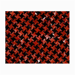 Houndstooth2 Black Marble & Red Marble Small Glasses Cloth (2 Sides) by trendistuff