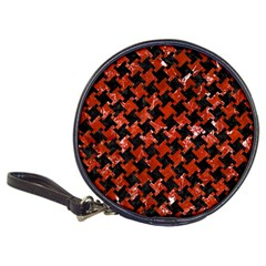 Houndstooth2 Black Marble & Red Marble Classic 20 Cd Wallet by trendistuff