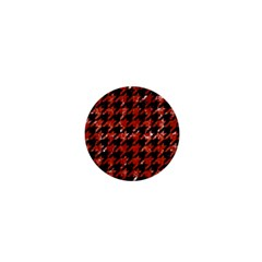 Houndstooth1 Black Marble & Red Marble 1  Mini Button by trendistuff