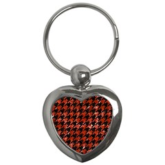 Houndstooth1 Black Marble & Red Marble Key Chain (heart) by trendistuff