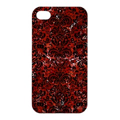 Damask2 Black Marble & Red Marble (r) Apple Iphone 4/4s Premium Hardshell Case by trendistuff