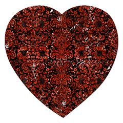 Damask2 Black Marble & Red Marble Jigsaw Puzzle (heart) by trendistuff
