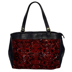 Damask2 Black Marble & Red Marble Oversize Office Handbag by trendistuff
