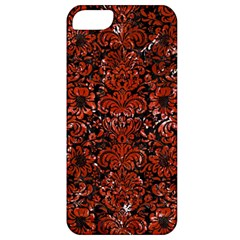 Damask2 Black Marble & Red Marble Apple Iphone 5 Classic Hardshell Case