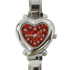 Damask1 Black Marble & Red Marble (r) Heart Italian Charm Watch
