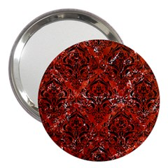 Damask1 Black Marble & Red Marble (r) 3  Handbag Mirror by trendistuff