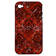 Damask1 Black Marble & Red Marble (r) Apple Iphone 4/4s Hardshell Case (pc+silicone) by trendistuff