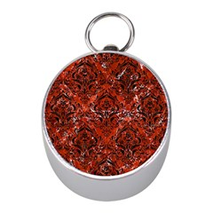 Damask1 Black Marble & Red Marble (r) Silver Compass (mini) by trendistuff