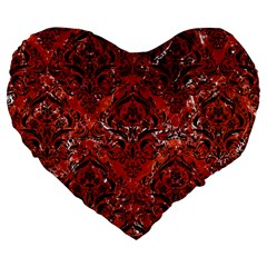 Damask1 Black Marble & Red Marble (r) Large 19  Premium Flano Heart Shape Cushion by trendistuff