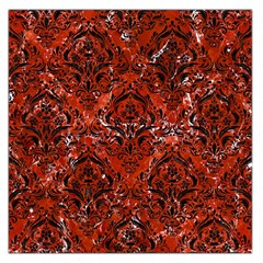 Damask1 Black Marble & Red Marble (r) Large Satin Scarf (square) by trendistuff