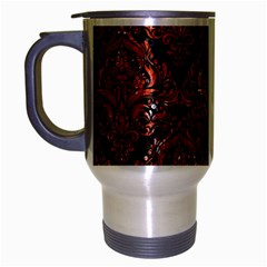 Damask1 Black Marble & Red Marble Travel Mug (silver Gray) by trendistuff