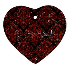 Damask1 Black Marble & Red Marble Heart Ornament (two Sides) by trendistuff