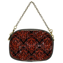 Damask1 Black Marble & Red Marble Chain Purse (two Sides) by trendistuff