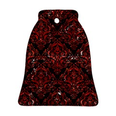 Damask1 Black Marble & Red Marble Ornament (bell) by trendistuff