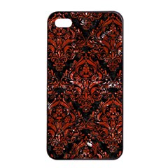 Damask1 Black Marble & Red Marble Apple Iphone 4/4s Seamless Case (black) by trendistuff