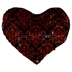 Damask1 Black Marble & Red Marble Large 19  Premium Flano Heart Shape Cushion by trendistuff