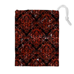 Damask1 Black Marble & Red Marble Drawstring Pouch (xl) by trendistuff