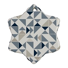 Geometric Triangle Modern Mosaic Snowflake Ornament (2 Side) by Amaryn4rt