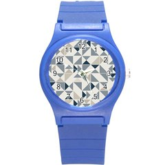 Geometric Triangle Modern Mosaic Round Plastic Sport Watch (s) by Amaryn4rt