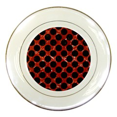 Circles2 Black Marble & Red Marble (r) Porcelain Plate by trendistuff