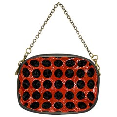 Circles1 Black Marble & Red Marble (r) Chain Purse (one Side) by trendistuff
