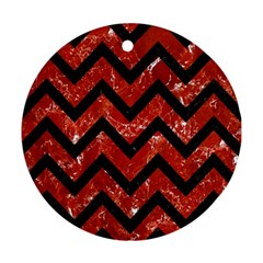Chevron9 Black Marble & Red Marble (r) Ornament (round) by trendistuff