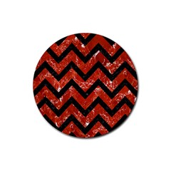 Chevron9 Black Marble & Red Marble (r) Rubber Coaster (round) by trendistuff