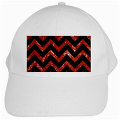 Chevron9 Black Marble & Red Marble White Cap by trendistuff