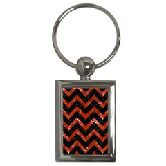 Chevron9 Black Marble & Red Marble Key Chain (rectangle) by trendistuff